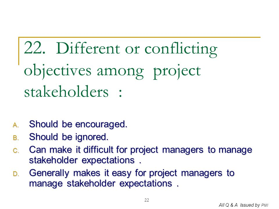 22. Different or conflicting objectives among project stakeholders :