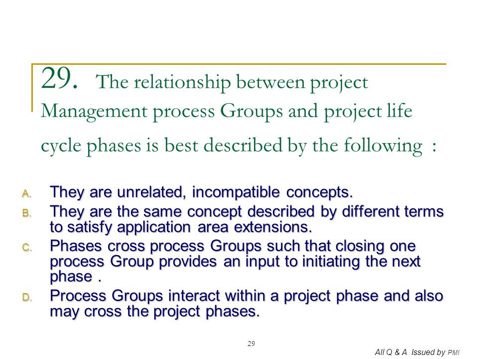 29. The relationship between project Management process Groups and project life cycle phases is best described by the following :