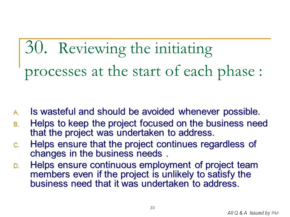 30. Reviewing the initiating processes at the start of each phase :