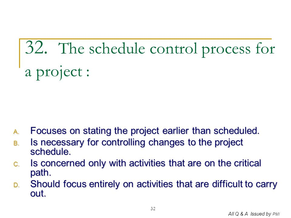 32. The schedule control process for a project :