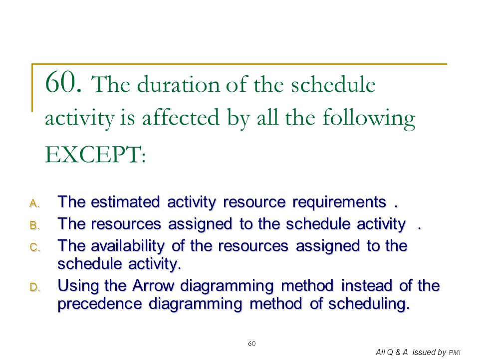 60. The duration of the schedule activity is affected by all the following EXCEPT: