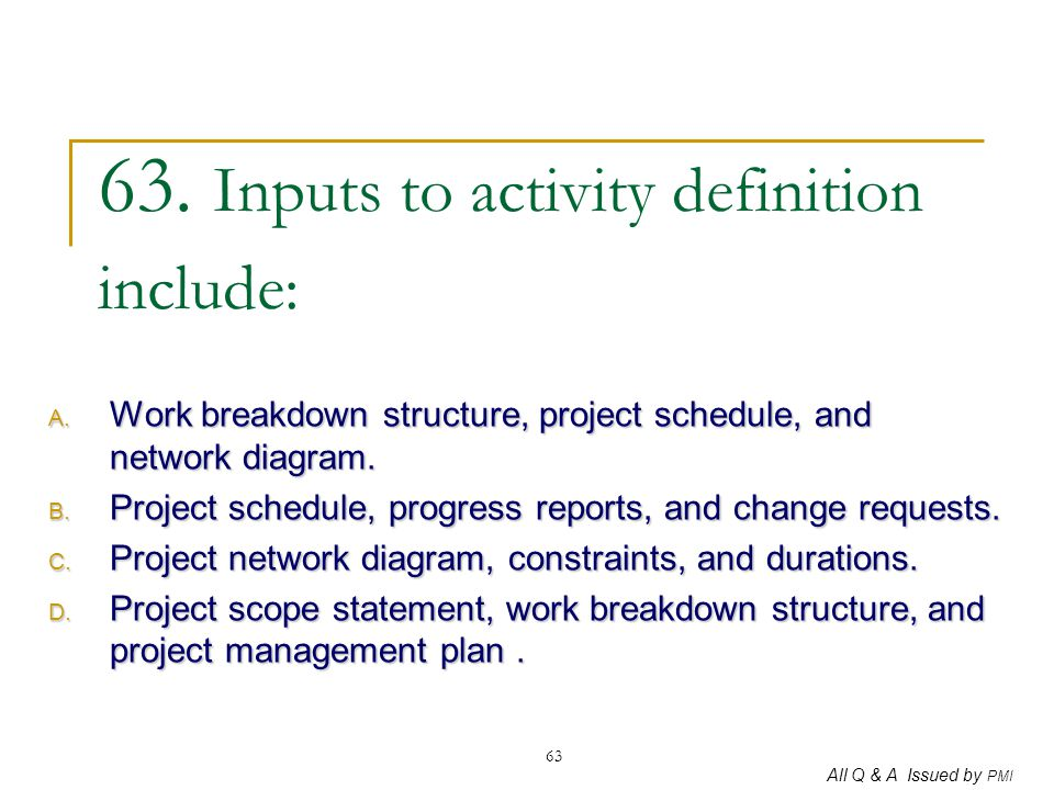 63. Inputs to activity definition include: