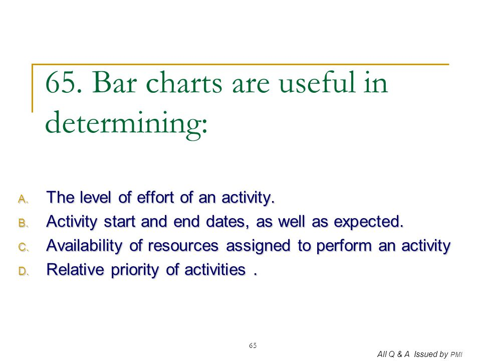 65. Bar charts are useful in determining: