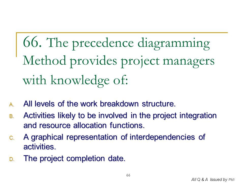 66. The precedence diagramming Method provides project managers with knowledge of:
