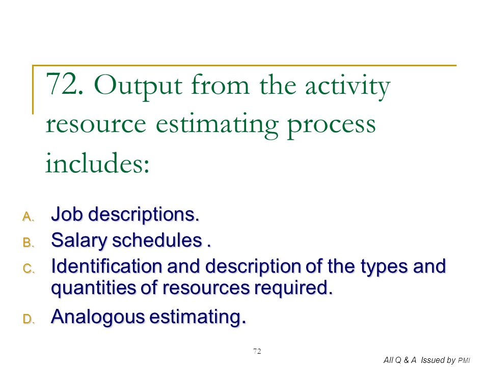 72. Output from the activity resource estimating process includes: