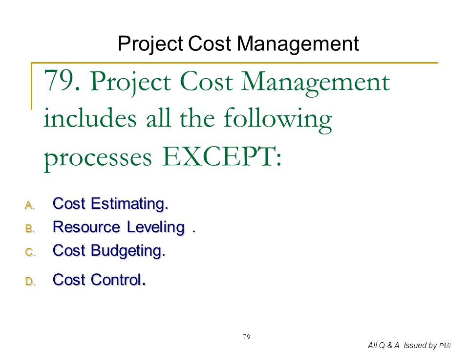 Cost Estimating. Resource Leveling . Cost Budgeting. Cost Control.