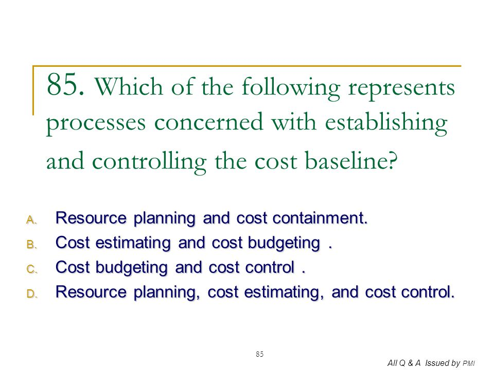 85. Which of the following represents processes concerned with establishing and controlling the cost baseline