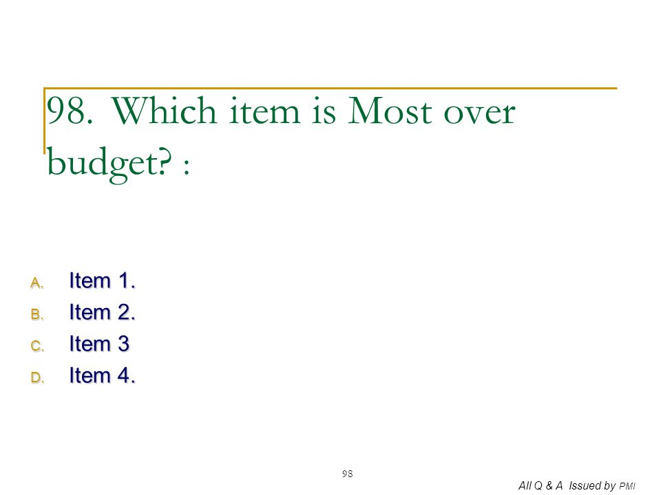 98. Which item is Most over budget :