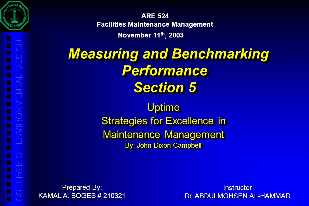 Measuring and Benchmarking Performance Section 5