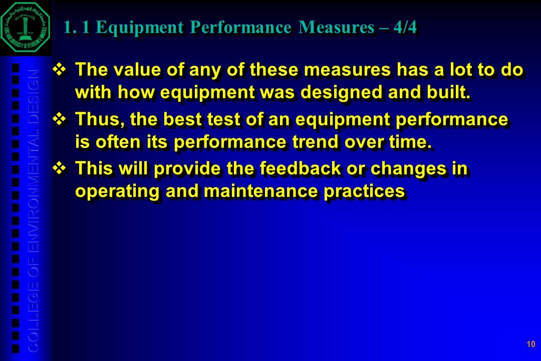 1. 1 Equipment Performance Measures – 4/4