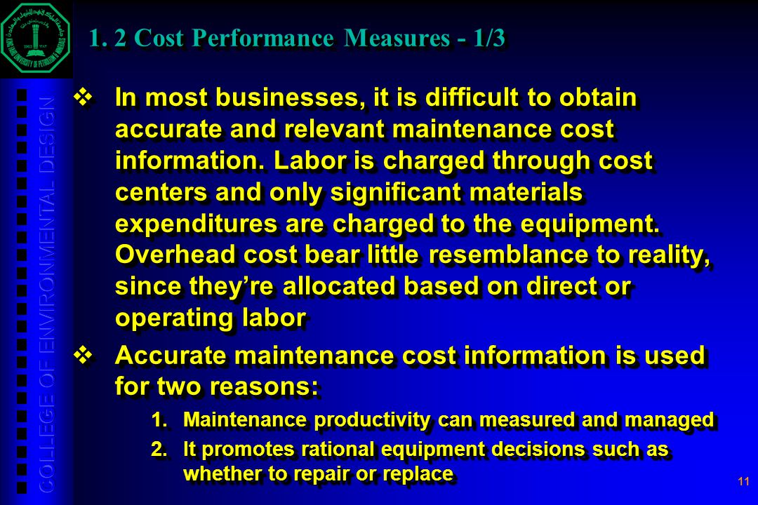 1. 2 Cost Performance Measures - 1/3