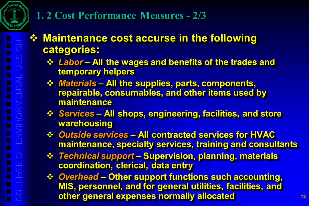 1. 2 Cost Performance Measures - 2/3