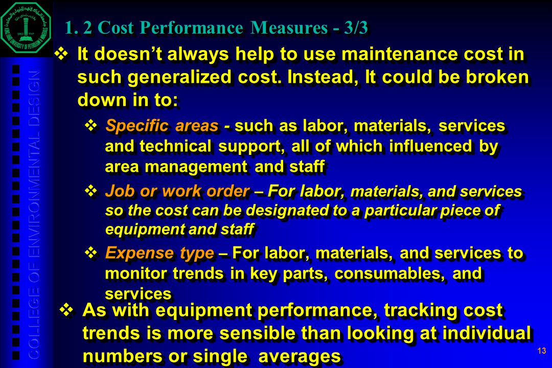 1. 2 Cost Performance Measures - 3/3