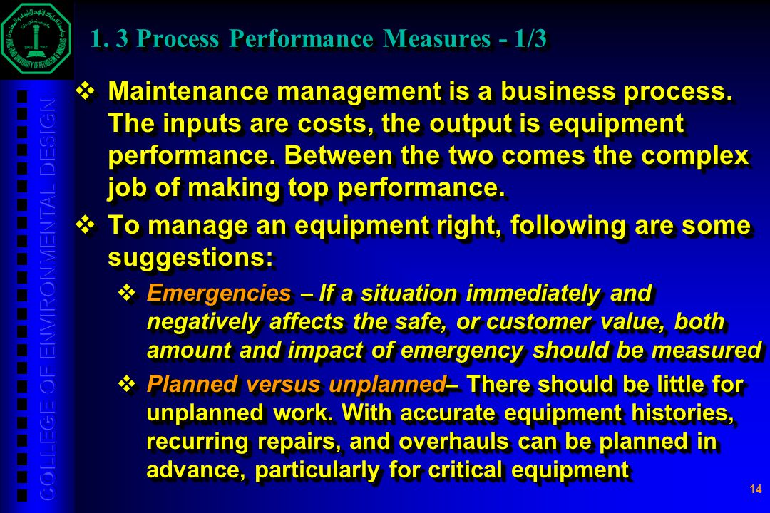 1. 3 Process Performance Measures - 1/3