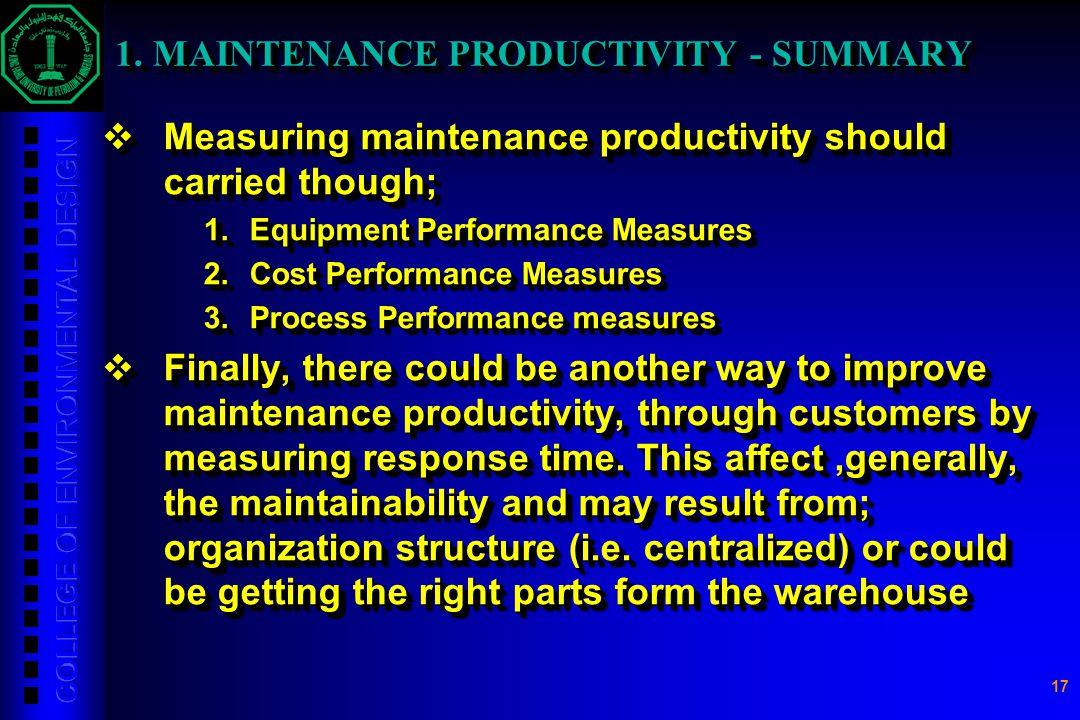 1. MAINTENANCE PRODUCTIVITY - SUMMARY