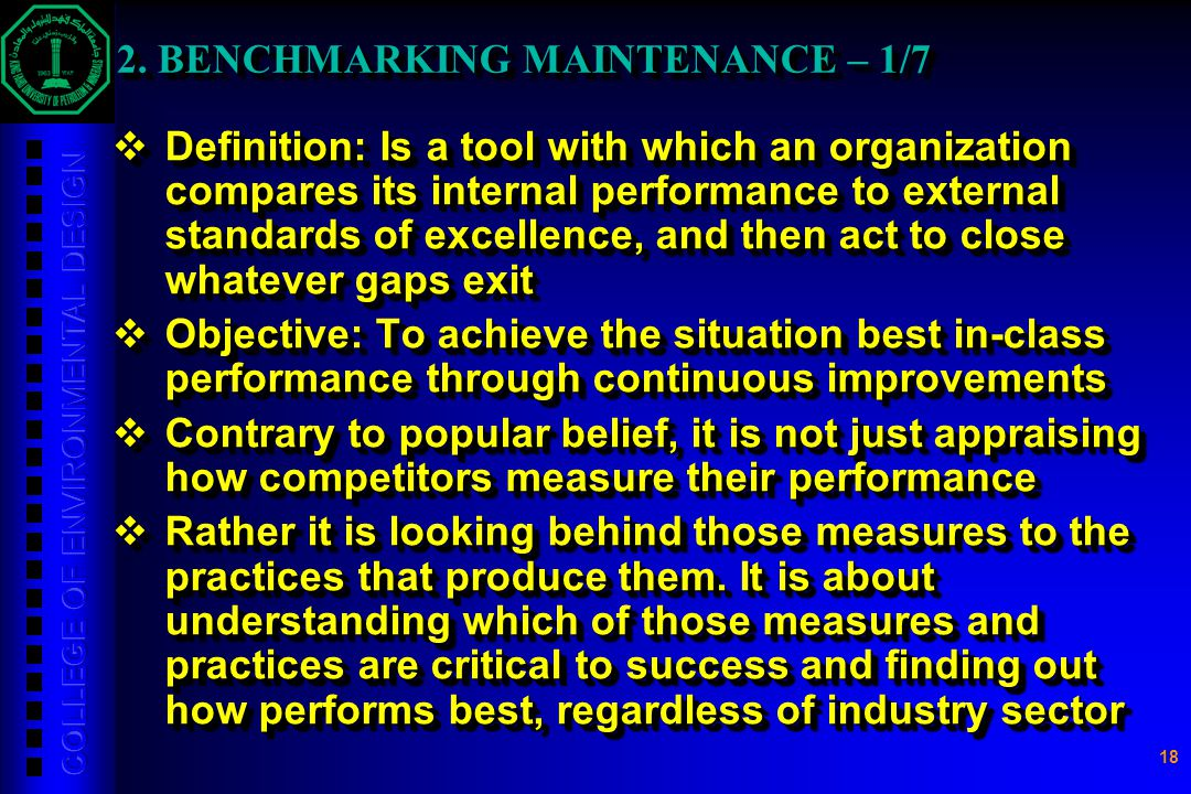 2. BENCHMARKING MAINTENANCE – 1/7