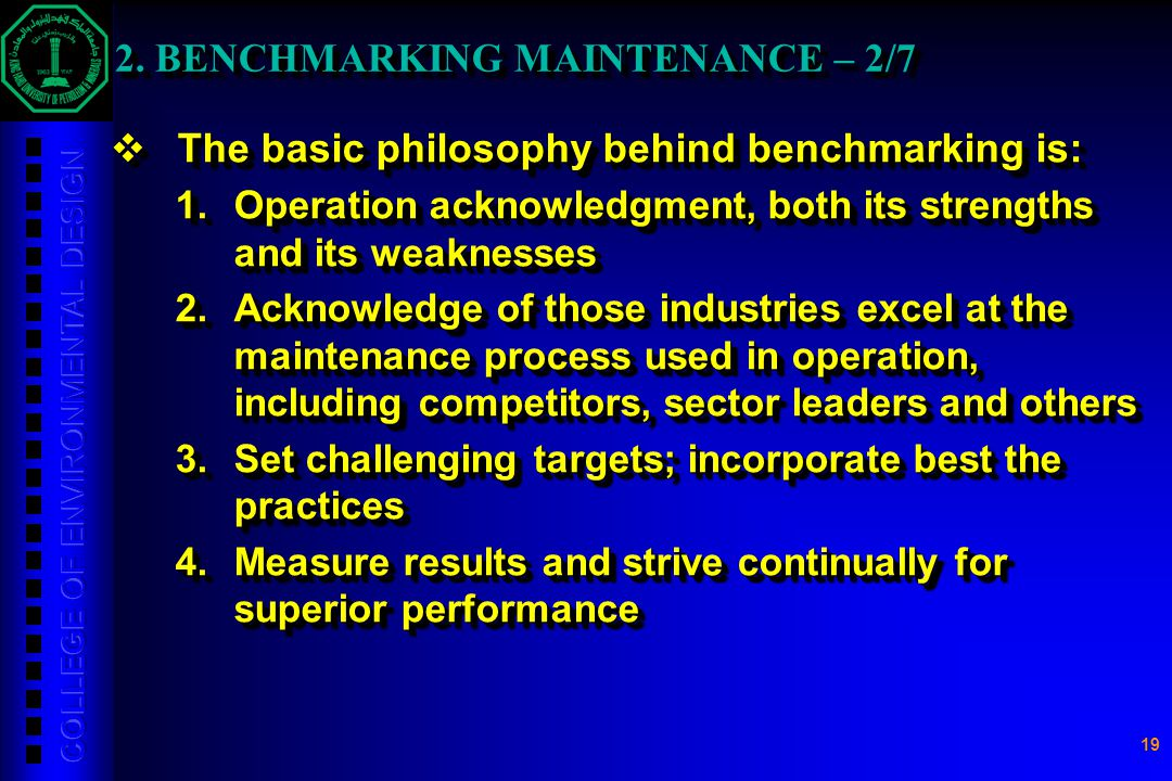 2. BENCHMARKING MAINTENANCE – 2/7