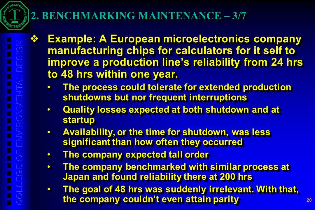 2. BENCHMARKING MAINTENANCE – 3/7