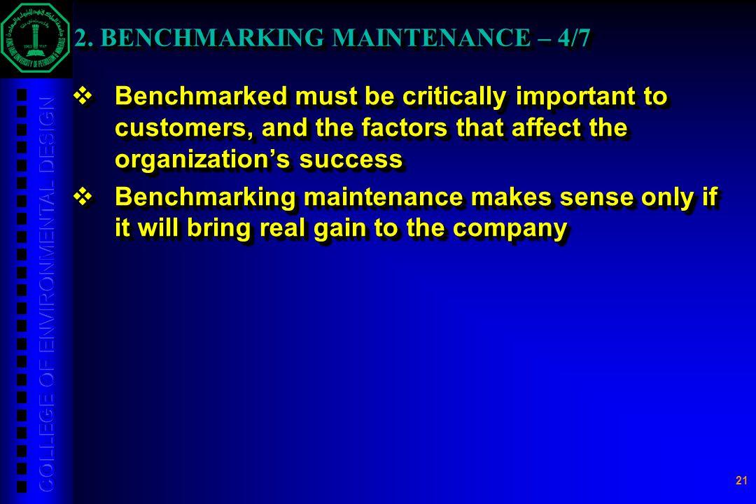 2. BENCHMARKING MAINTENANCE – 4/7
