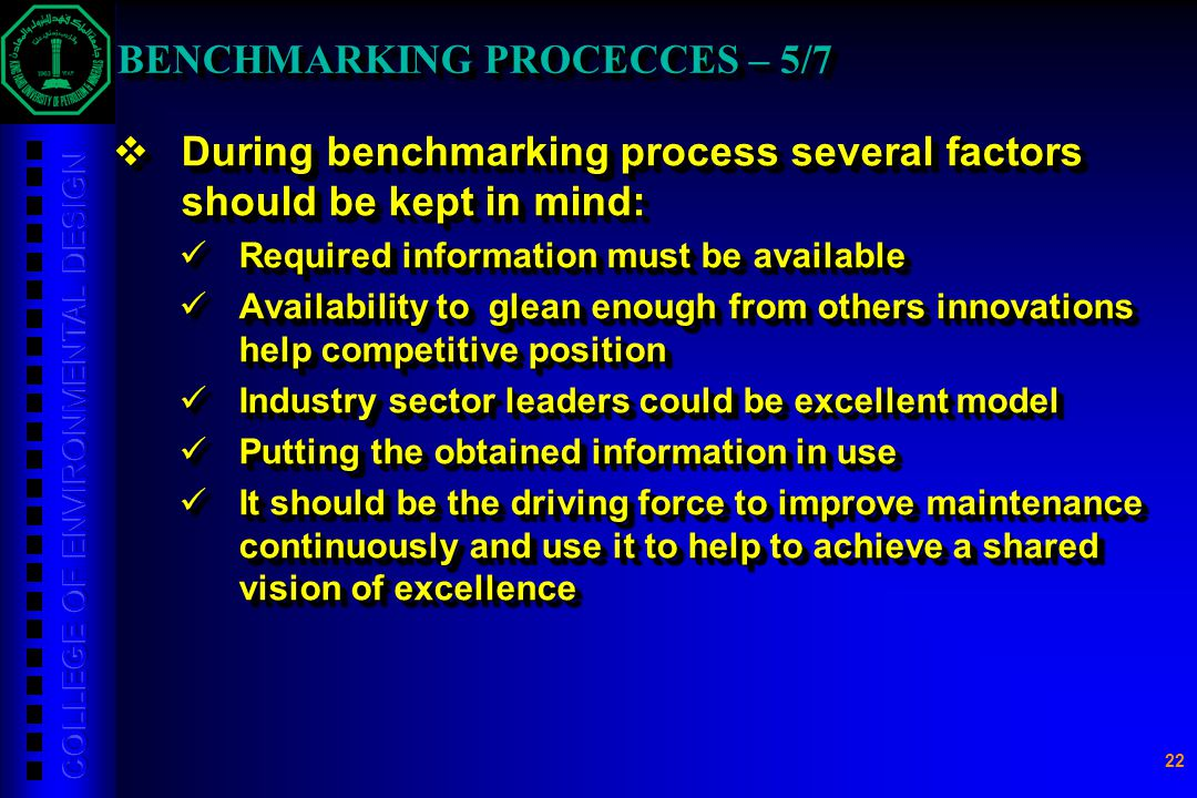 BENCHMARKING PROCECCES – 5/7