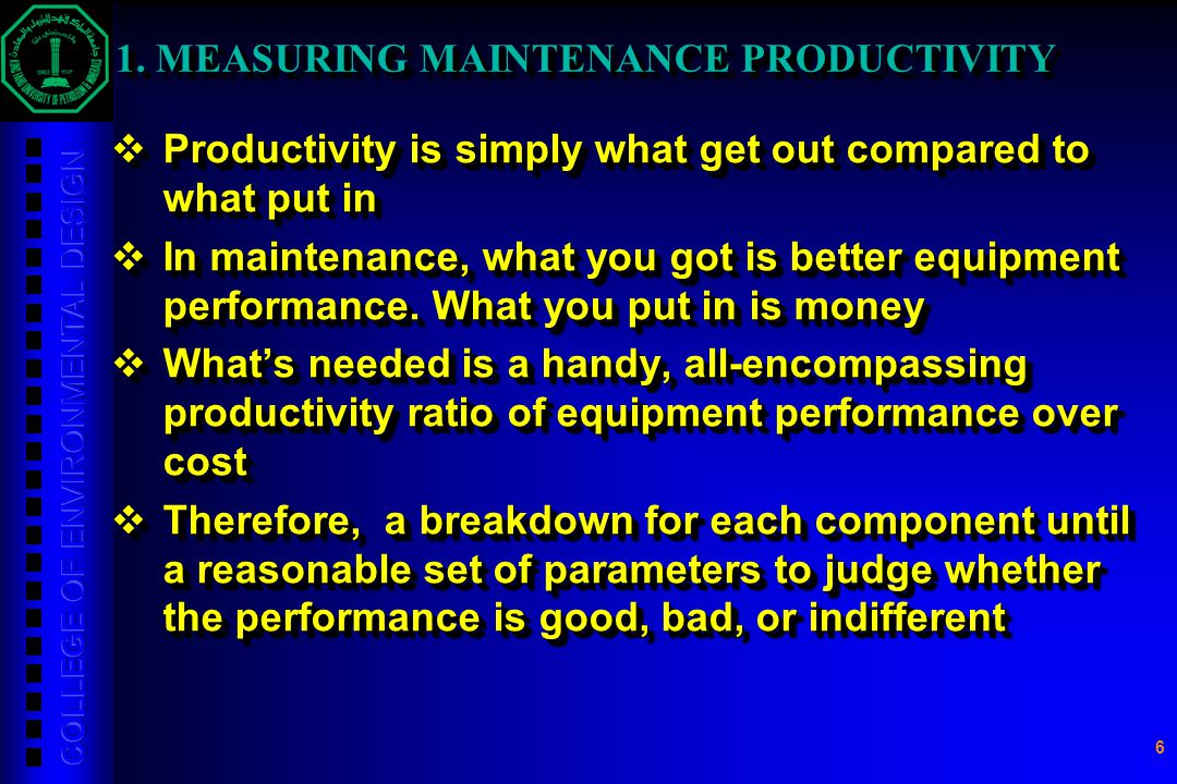 1. MEASURING MAINTENANCE PRODUCTIVITY