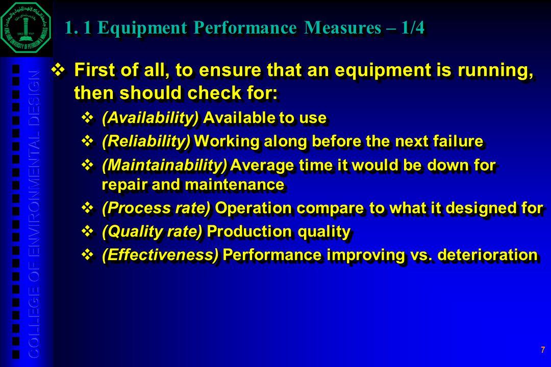1. 1 Equipment Performance Measures – 1/4