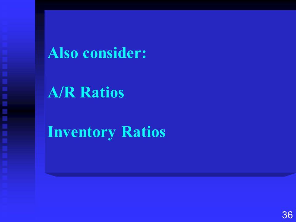 Also consider: A/R Ratios Inventory Ratios