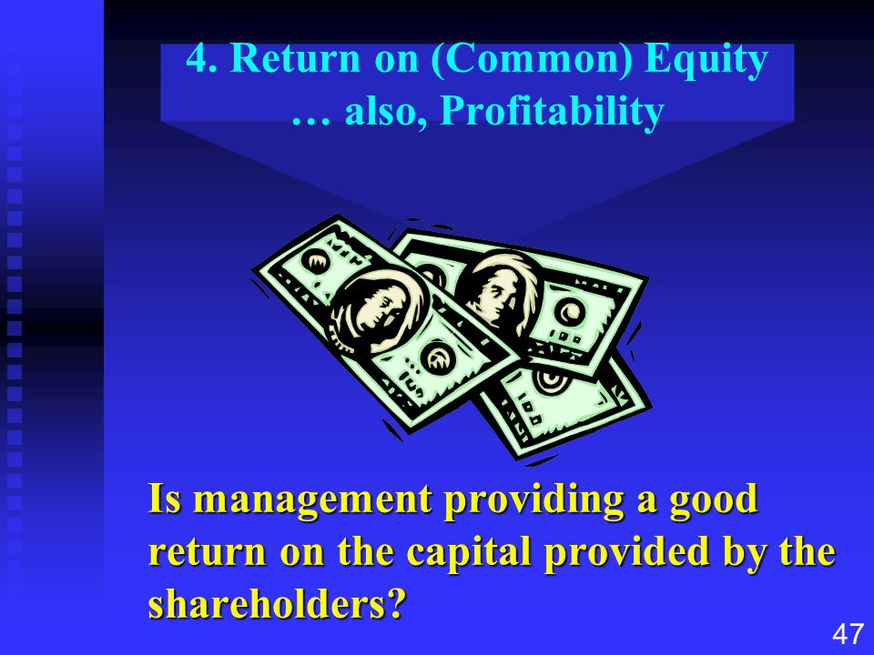 4. Return on (Common) Equity … also, Profitability