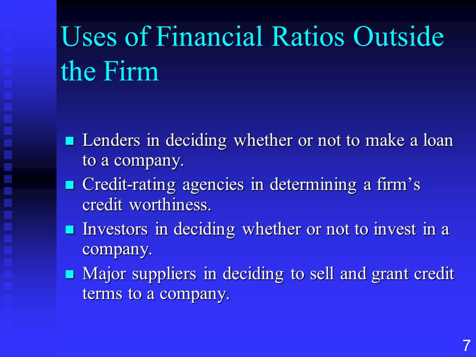 Uses of Financial Ratios Outside the Firm