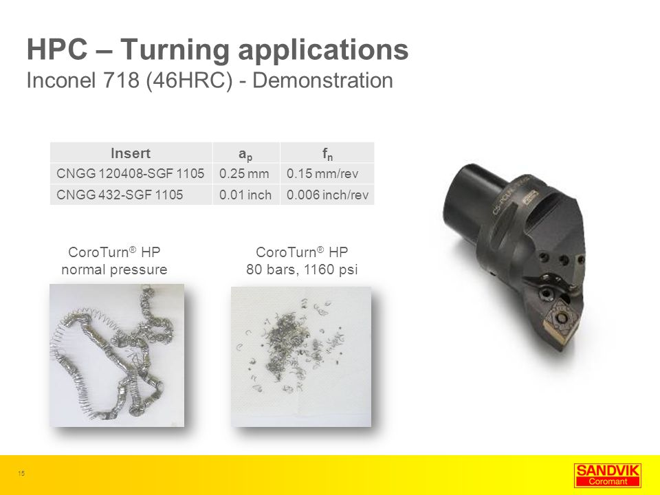 HPC – Turning applications Inconel 718 (46HRC) - Demonstration