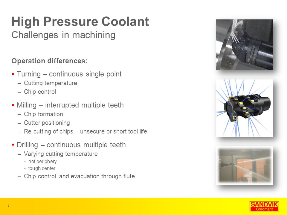 High Pressure Coolant Challenges in machining