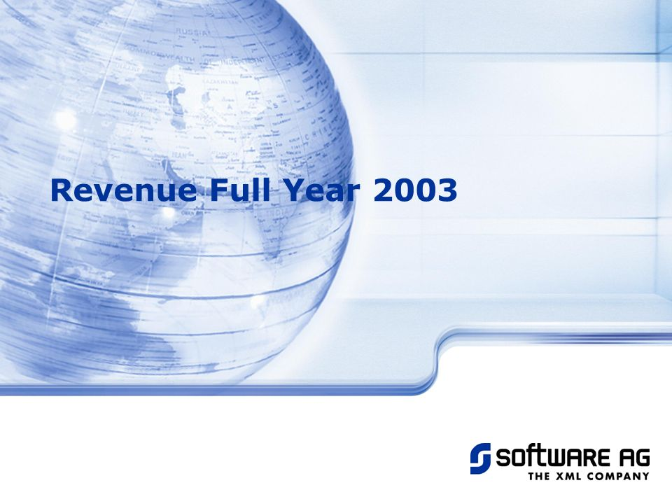 Title of PPT 25-Mar-17 Revenue Full Year 2003 © Software AG, 2003