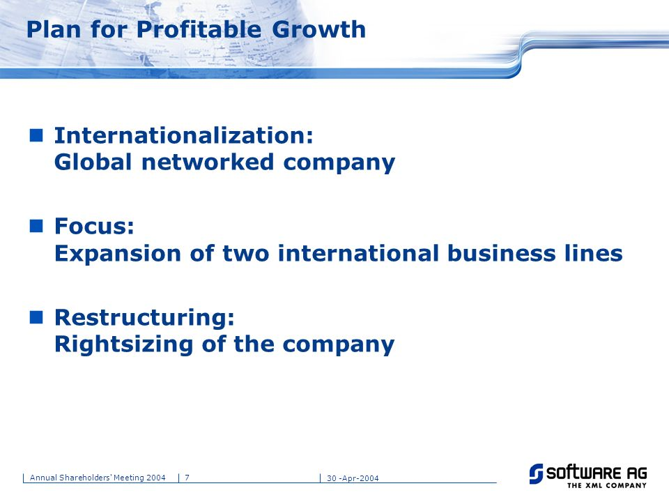 Plan for Profitable Growth