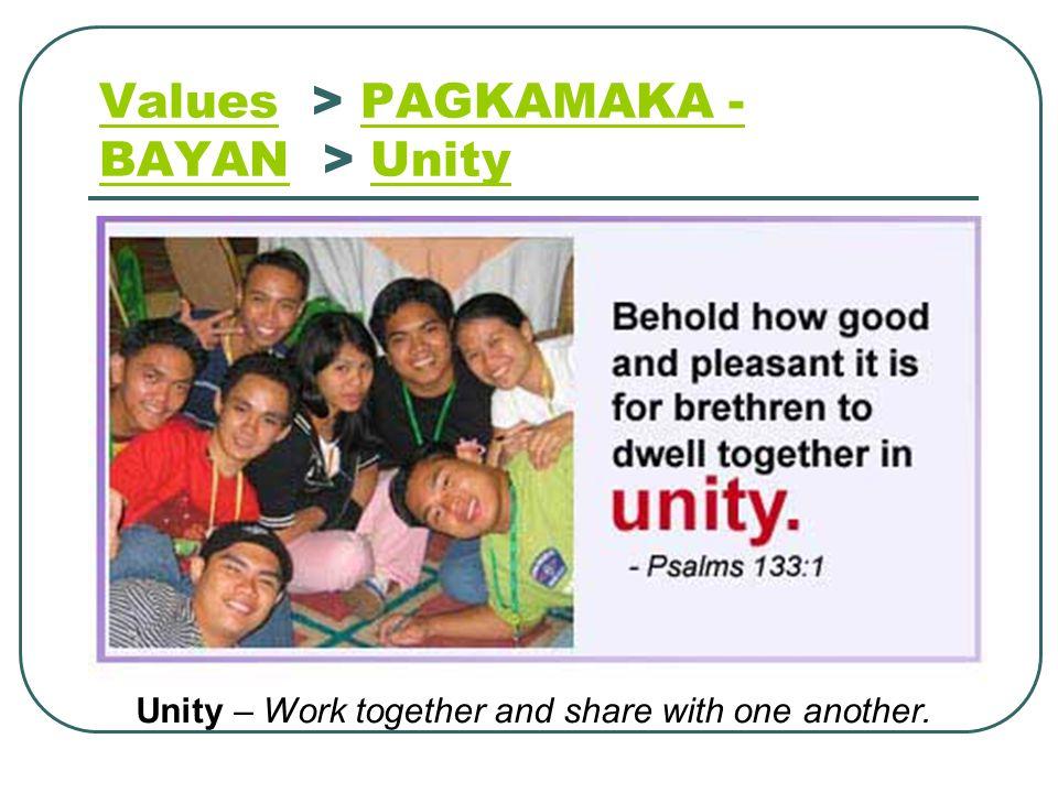 Values > PAGKAMAKA - BAYAN > Unity