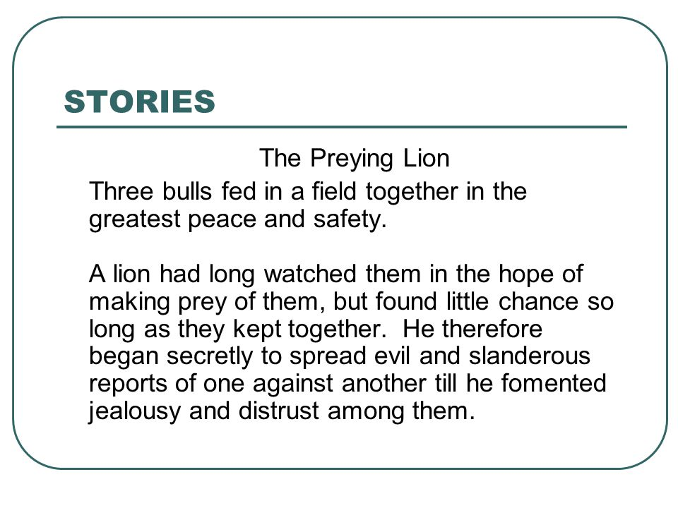 STORIES The Preying Lion