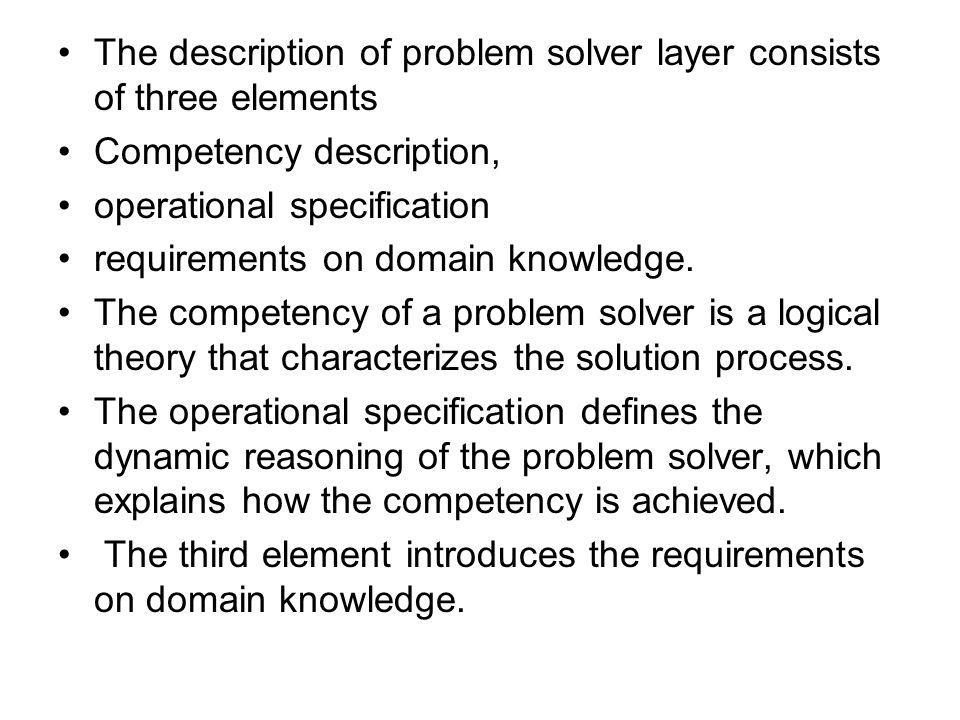 The description of problem solver layer consists of three elements