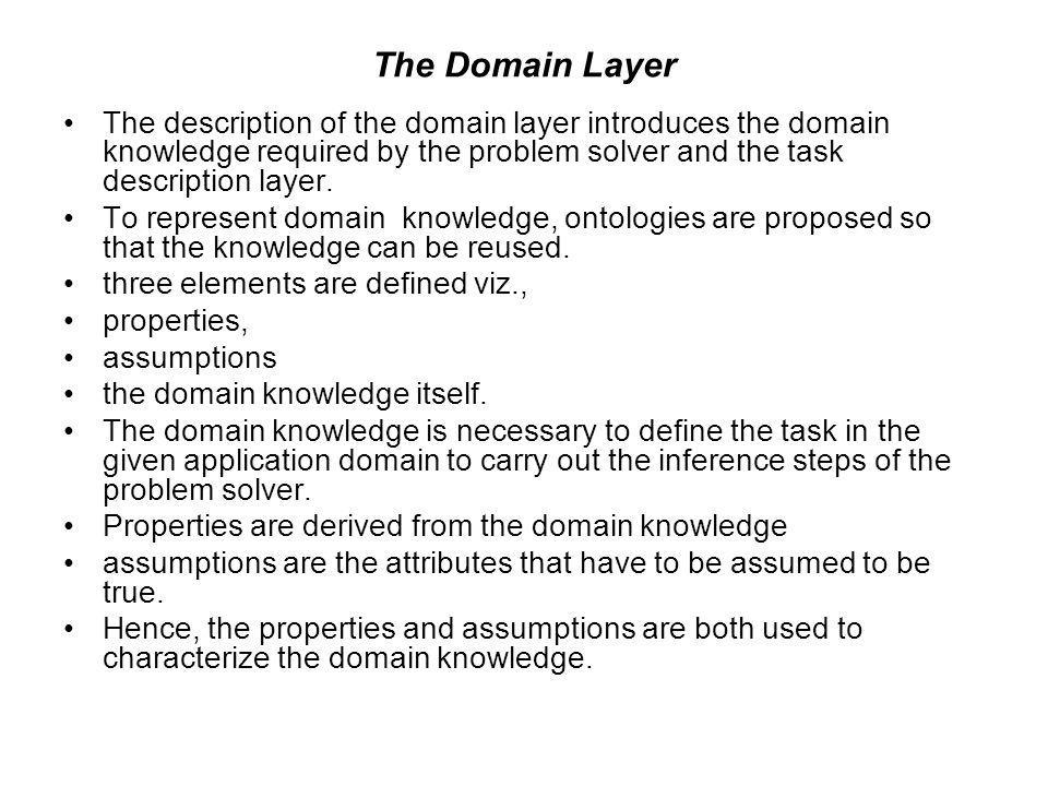 The Domain Layer The description of the domain layer introduces the domain knowledge required by the problem solver and the task description layer.