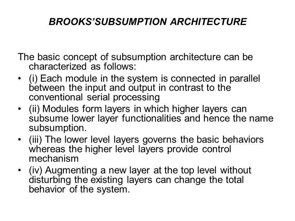 BROOKS'SUBSUMPTION ARCHITECTURE