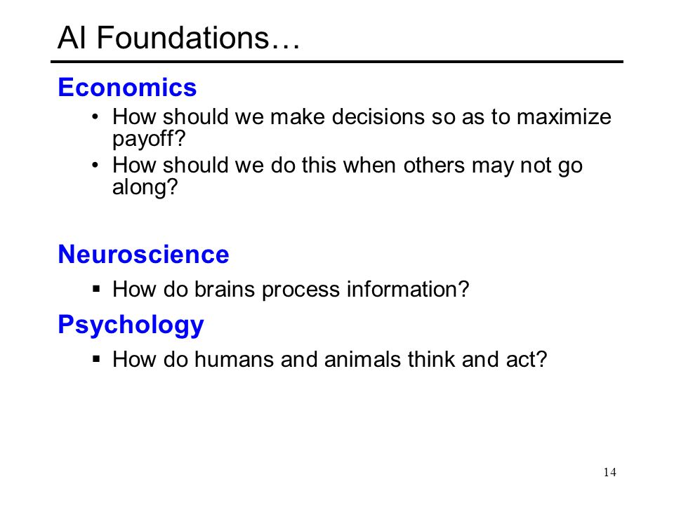 AI Foundations… Economics Neuroscience Psychology