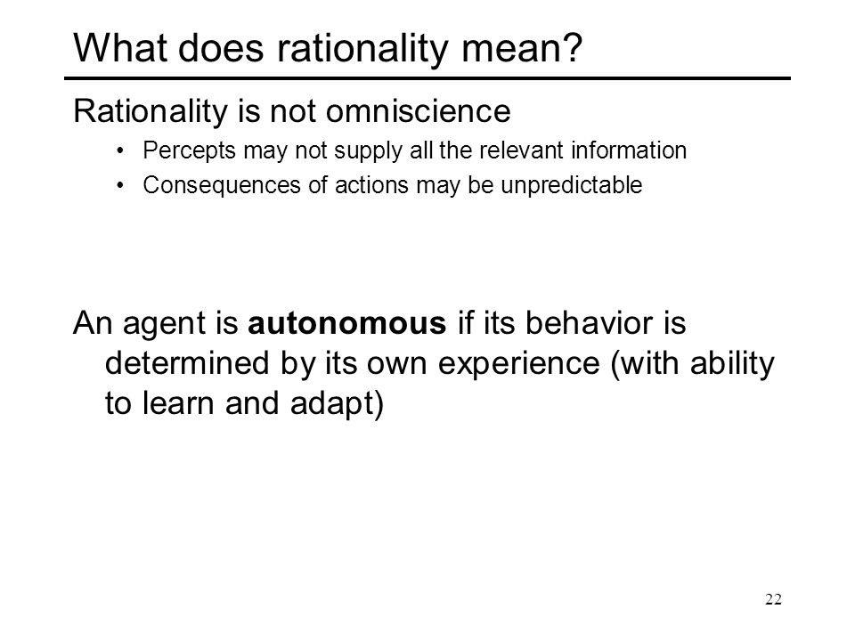 What does rationality mean