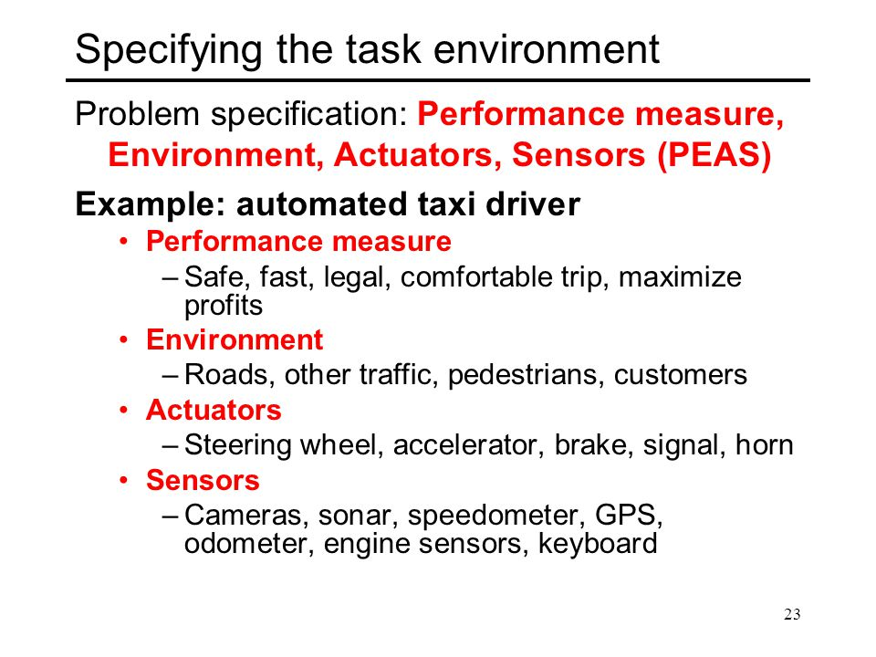 Specifying the task environment