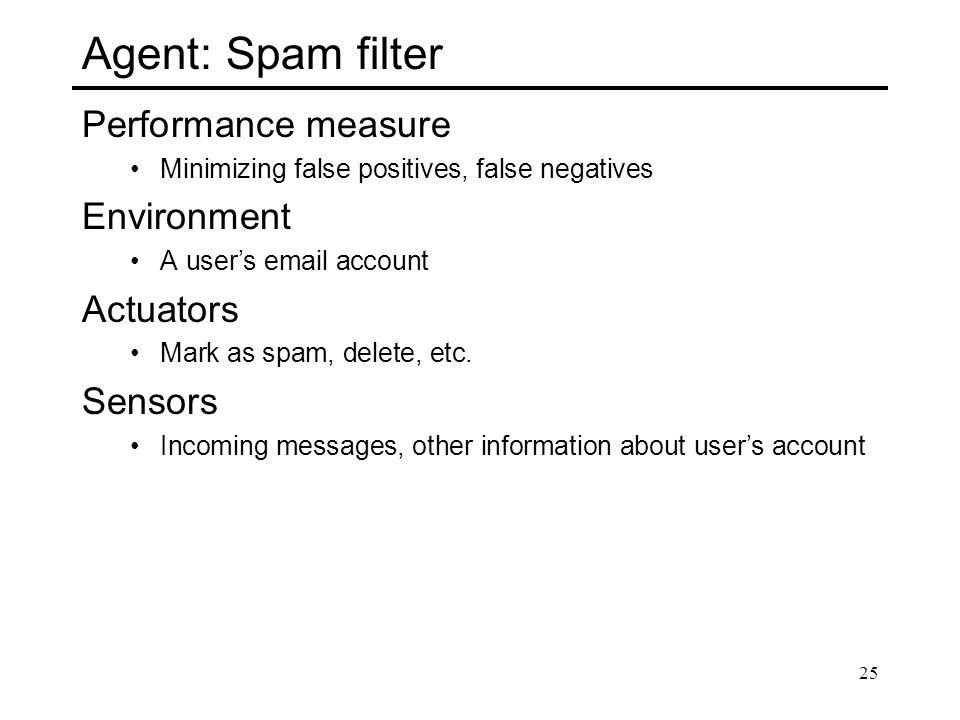 Agent: Spam filter Performance measure Environment Actuators Sensors