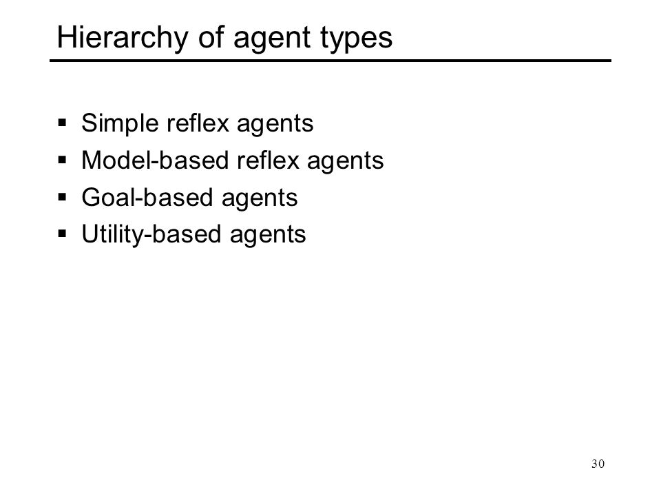 Hierarchy of agent types