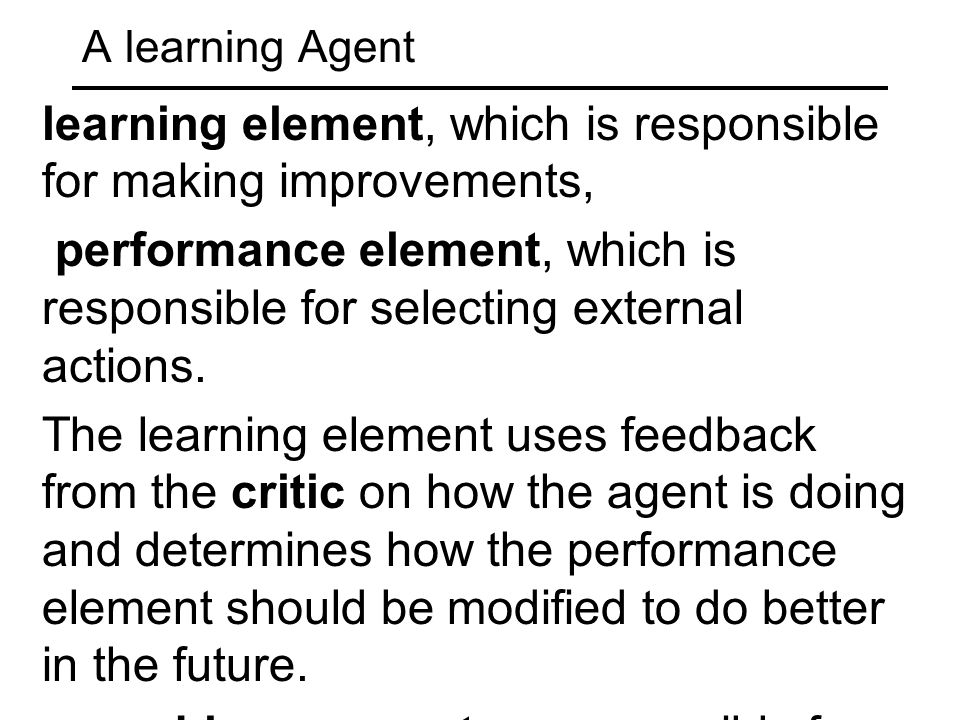learning element, which is responsible for making improvements,