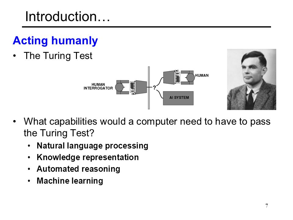 Introduction… Acting humanly The Turing Test