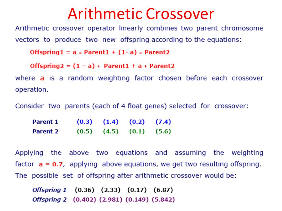Arithmetic Crossover