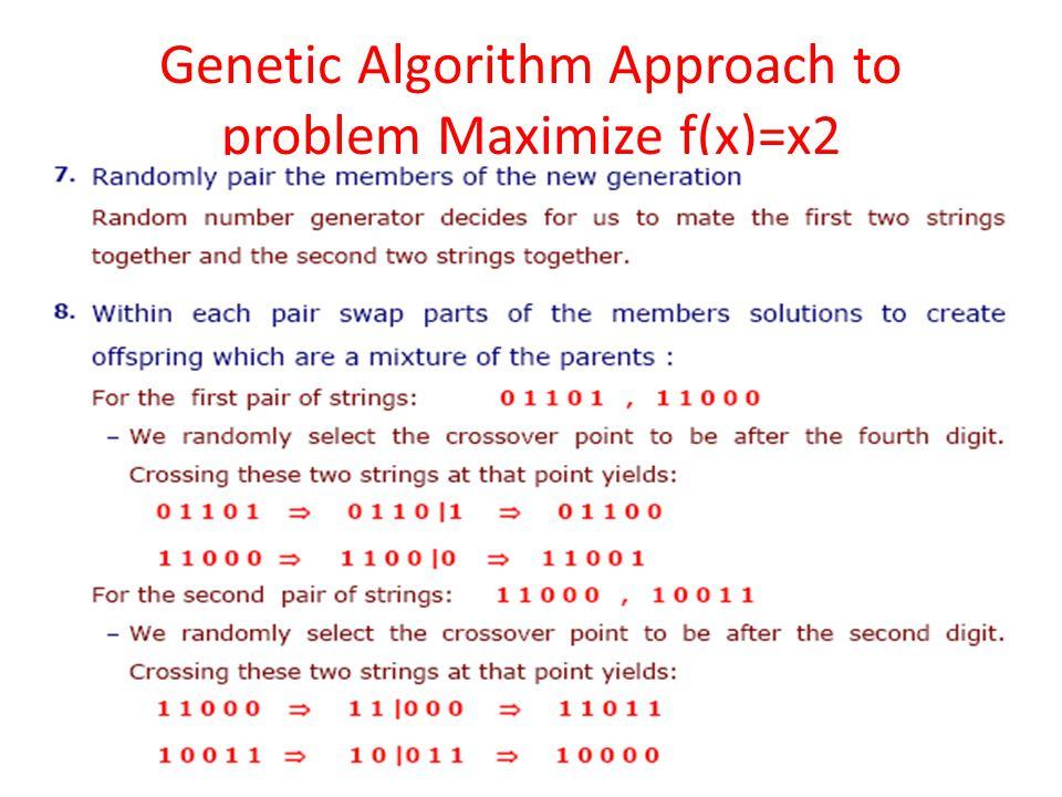 Genetic Algorithm Approach to problem Maximize f(x)=x2