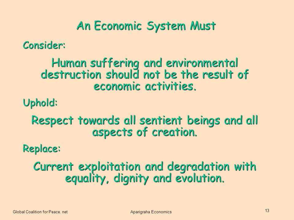 An Economic System Must