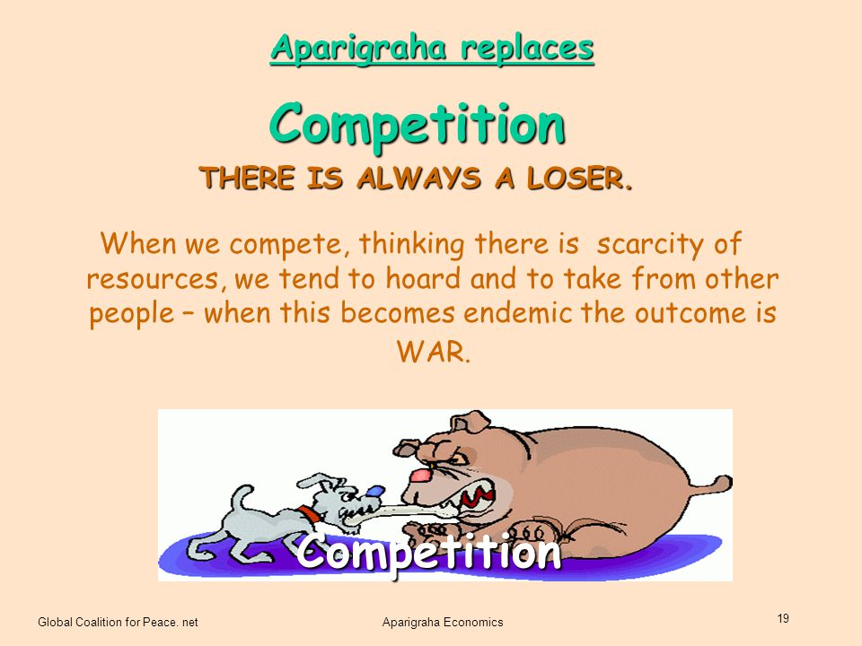 Competition Competition Aparigraha replaces THERE IS ALWAYS A LOSER.