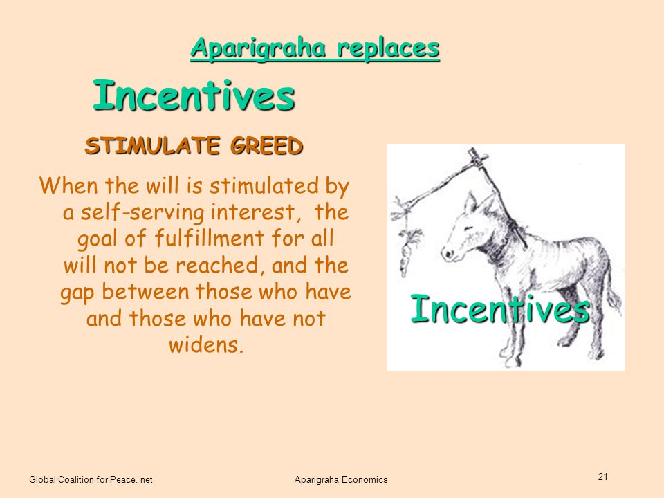 Incentives Incentives Aparigraha replaces STIMULATE GREED